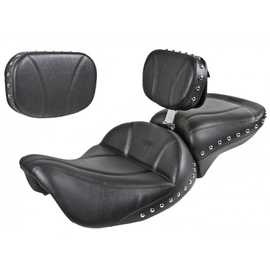 FLH® 1997-2007 2-Piece Midrider Seat, Passenger Seat, Driver Backrest and Sissy Bar Pad - Plain or Studded