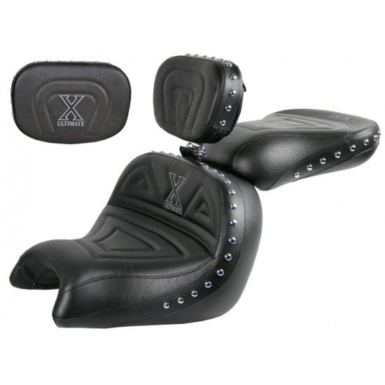 VTX 1800 C Lowrider Seat, Passenger Seat, Driver Backrest and Sissy Bar Pad - Plain or Studded