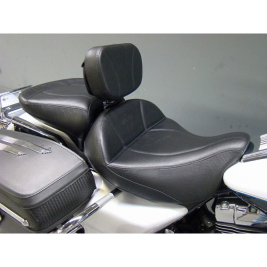 FLH® 2008-2013 2-Piece Seat, Passenger Seat and Driver Backrest - Plain or Studded