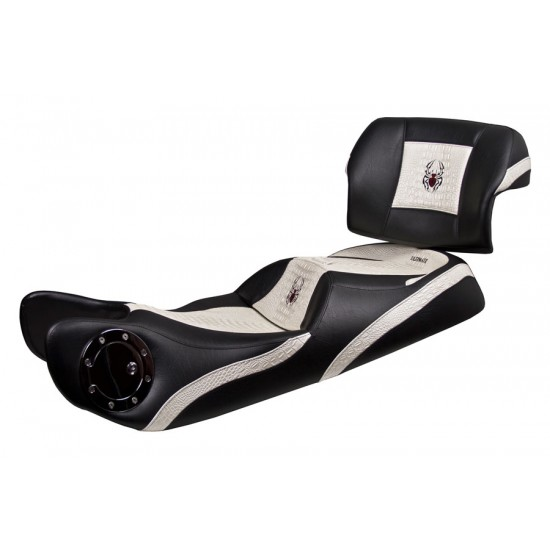 Spyder RT Seat, Driver Backrest and Passenger Backrest - Ultimate Pearl White Croc Inlays, Logos and Fuel Door (2010 - 2019)