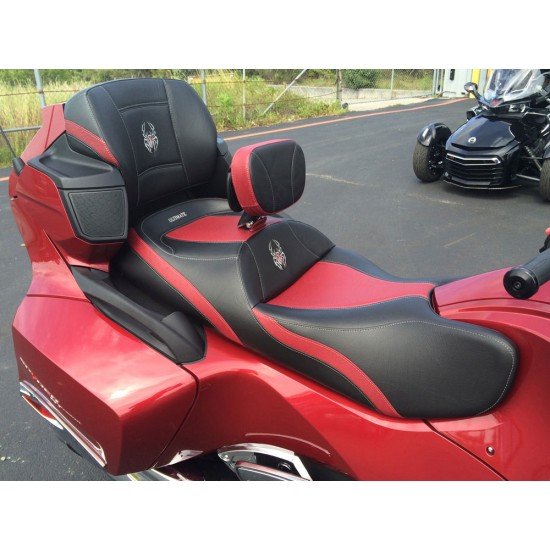 Spyder RT Seat, Driver Backrest and Passenger Backrest - Full Dark Red Ostrich Inlays, Logos and Fuel Door (2010 - 2019)