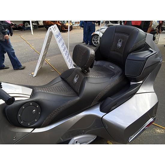 Spyder RT Seat, Driver Backrest and Passenger Backrest - Ultimate Ebony Croc Inlays, Logos and Fuel Door (2010 - 2019)