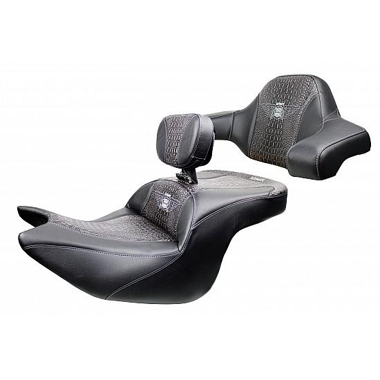 Goldwing Tour Seat, Driver Backrest and Ultimate Passenger Backrest - Ebony Croc Inlay (2018 - 2020)