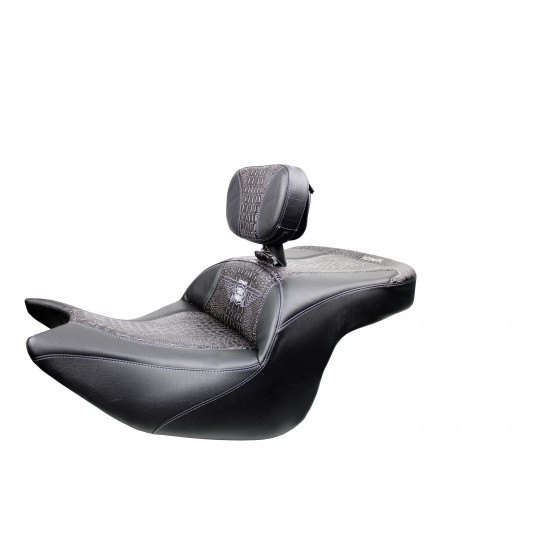 Goldwing Seat and Driver Backrest - Ebony Croc Inlay (2018 - 2021)