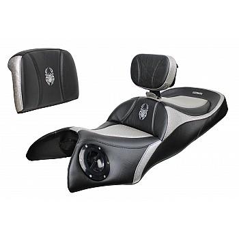 Spyder RT Seat, Driver Backrest and Passenger Backrest - Aluminum Ostrich Inlays, Logos (2020 and Newer)