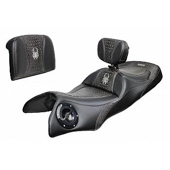 Spyder RT Seat, Driver Backrest and Passenger Backrest - Ebony Croc Inlays, Logos (2020 and Newer)