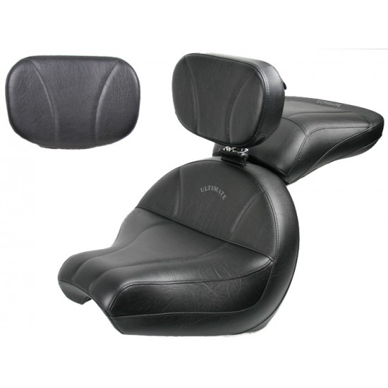 V-Star 1100 Custom Midrider Seat, Passenger Seat, Driver Backrest and Sissy Bar Pad - Plain or Studded
