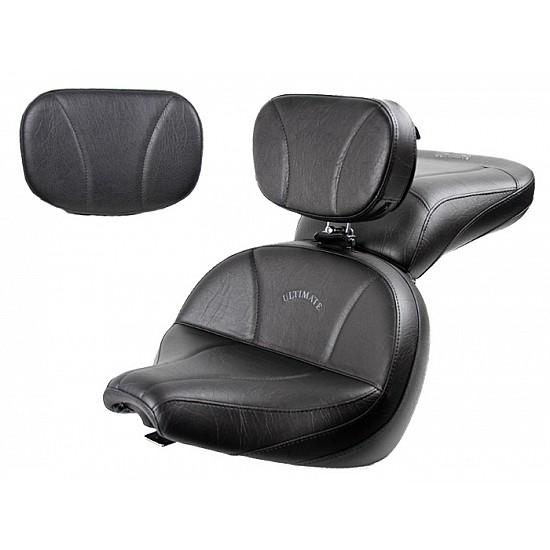 V-Star 650 Custom Lowrider Seat, Passenger Seat, Driver Backrest and Sissy Bar Pad - Plain or Studded